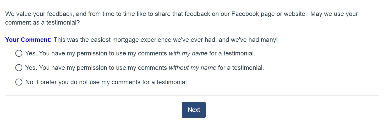 Testimonial Question Screenshot